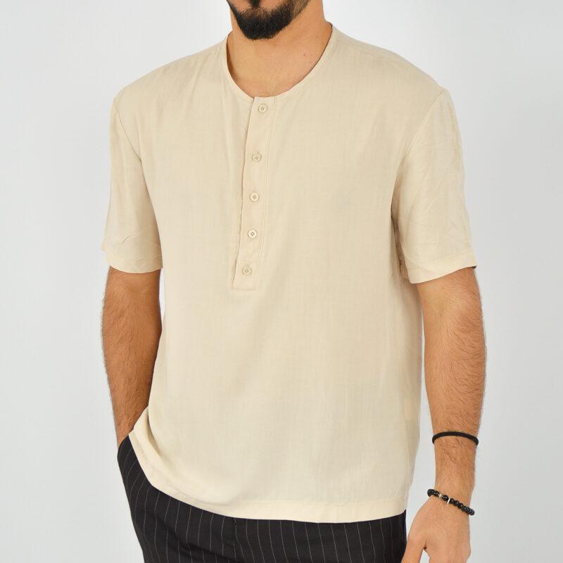 ABBIGLIAMENTO UOMO ONLINE - camicia uomo serafino manica corta beige (6).jpg