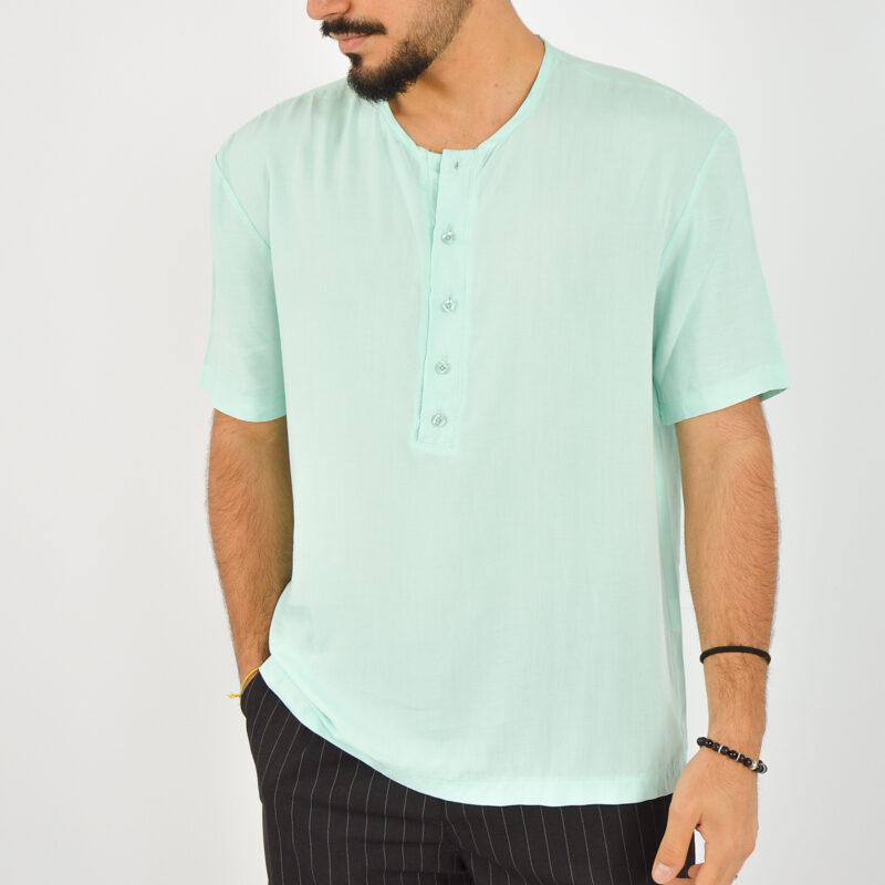 ABBIGLIAMENTO UOMO ONLINE - camicia uomo serafino manica corta verde (5).jpg