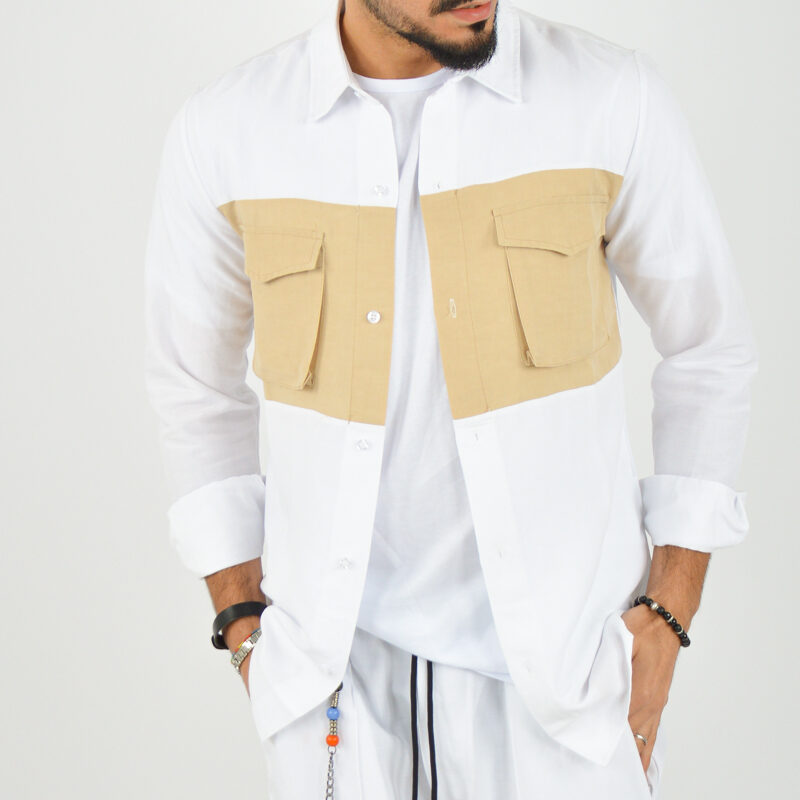 ABBIGLIAMENTO UOMO ONLINE - camicia doppio colore tasche bianca (2).jpg