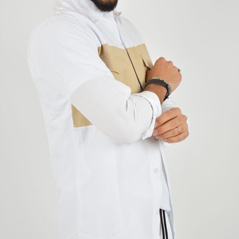 ABBIGLIAMENTO UOMO ONLINE - camicia doppio colore tasche bianca (3).jpg