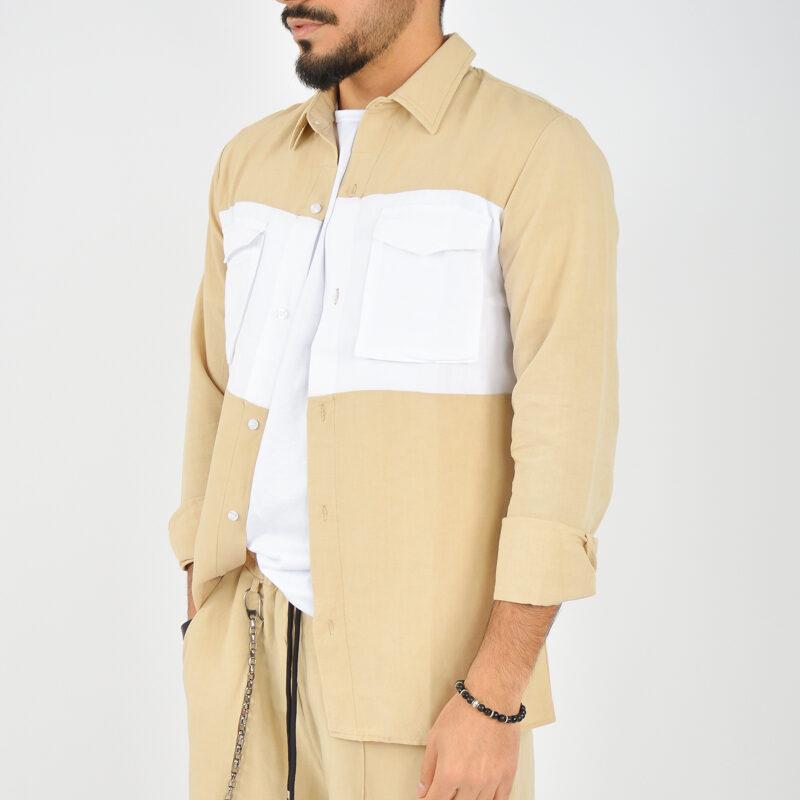 ABBIGLIAMENTO UOMO ONLINE - camicia doppio colore tasche beige (3).jpg