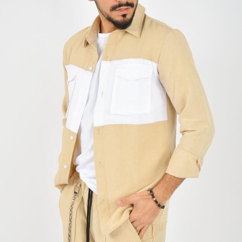 ABBIGLIAMENTO UOMO ONLINE - camicia doppio colore tasche beige (4).jpg