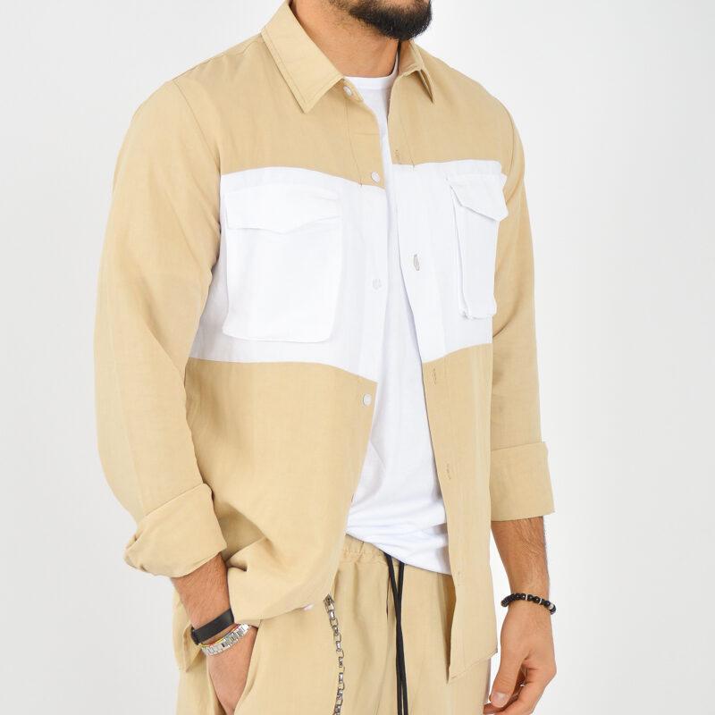 ABBIGLIAMENTO UOMO ONLINE - camicia doppio colore tasche beige (5).jpg