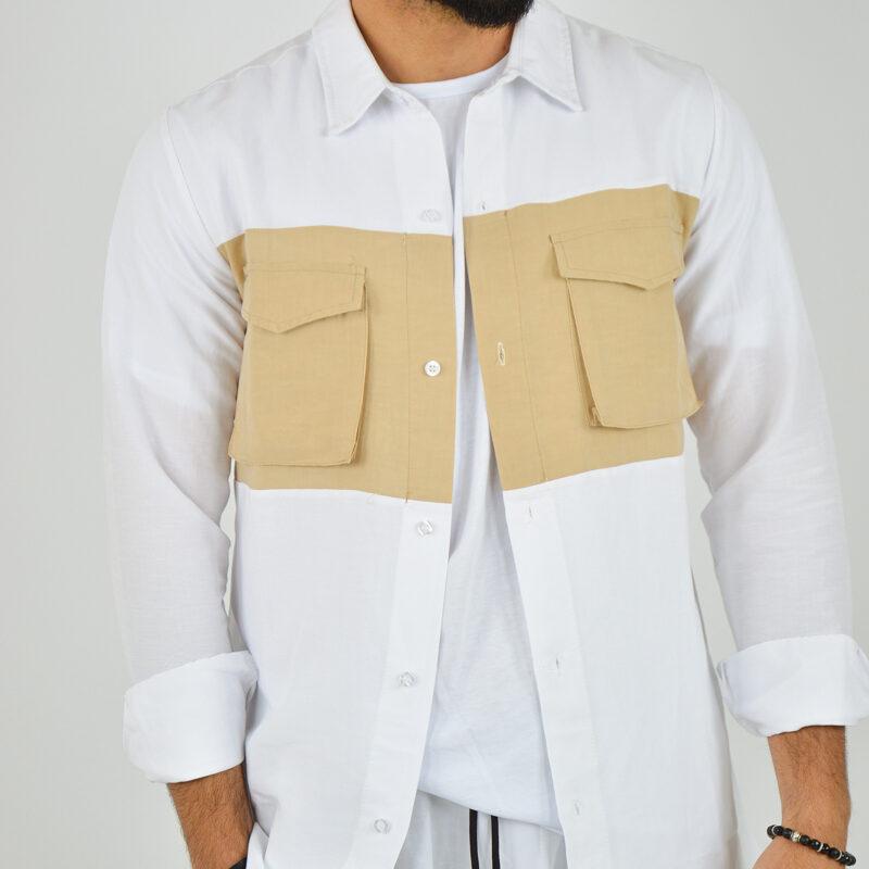ABBIGLIAMENTO UOMO ONLINE - camicia doppio colore tasche bianca (1).jpg