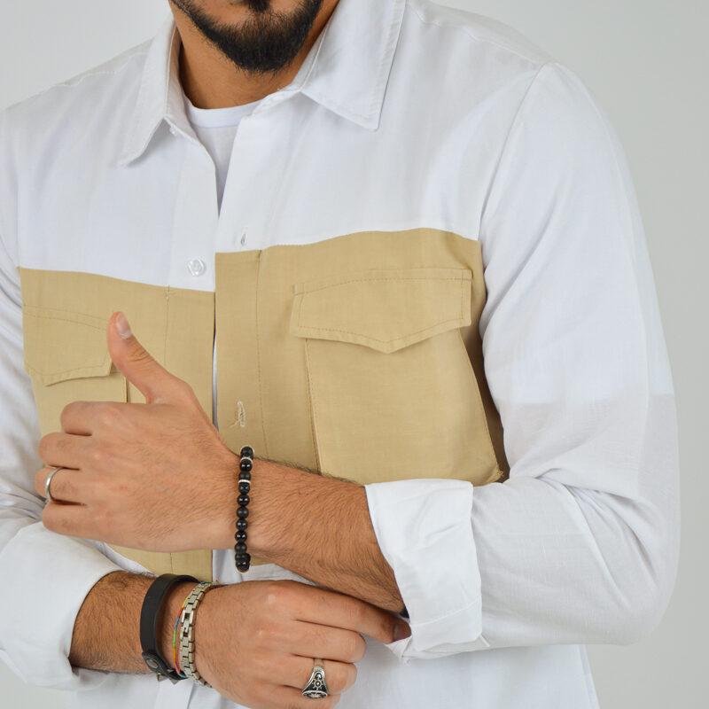ABBIGLIAMENTO UOMO ONLINE - camicia doppio colore tasche bianca (4).jpg